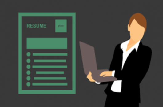 resume icon with a professional woman figure holding a laptop