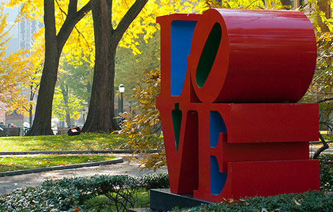 UPenn red LOVE letters statue on campus